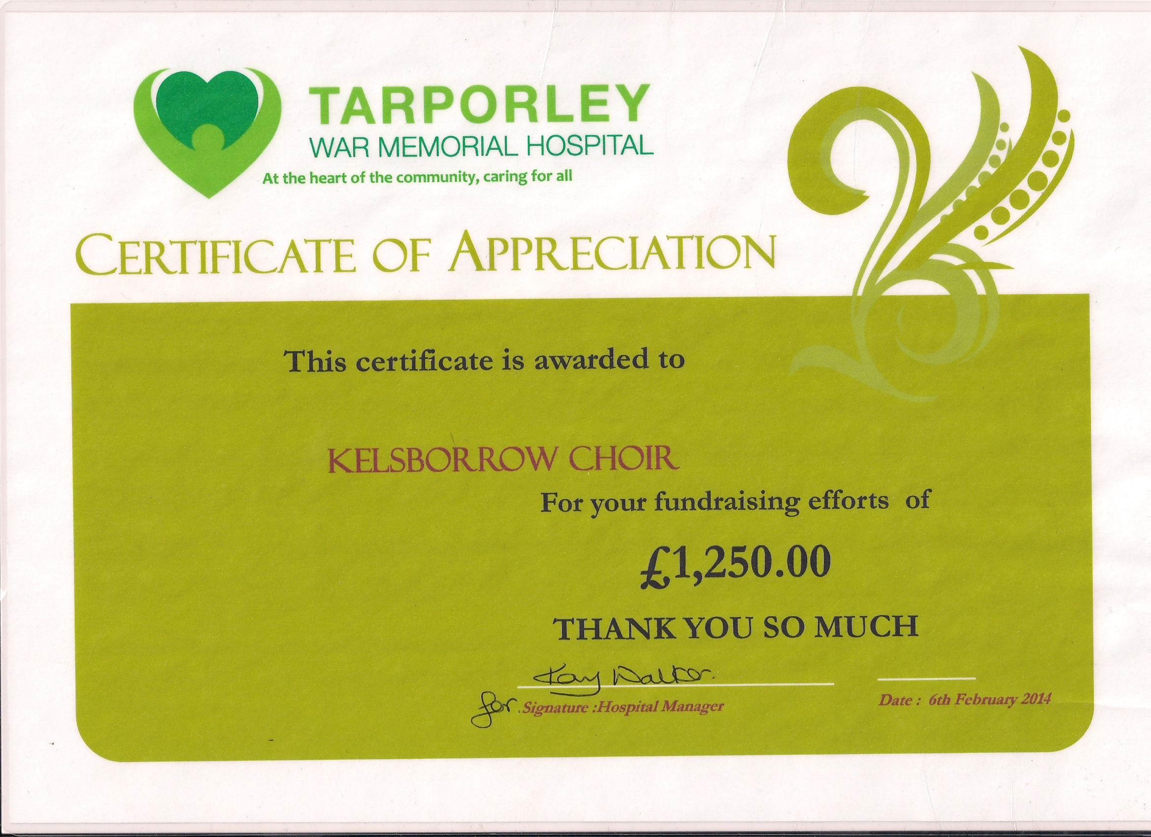 Tarporley certificate