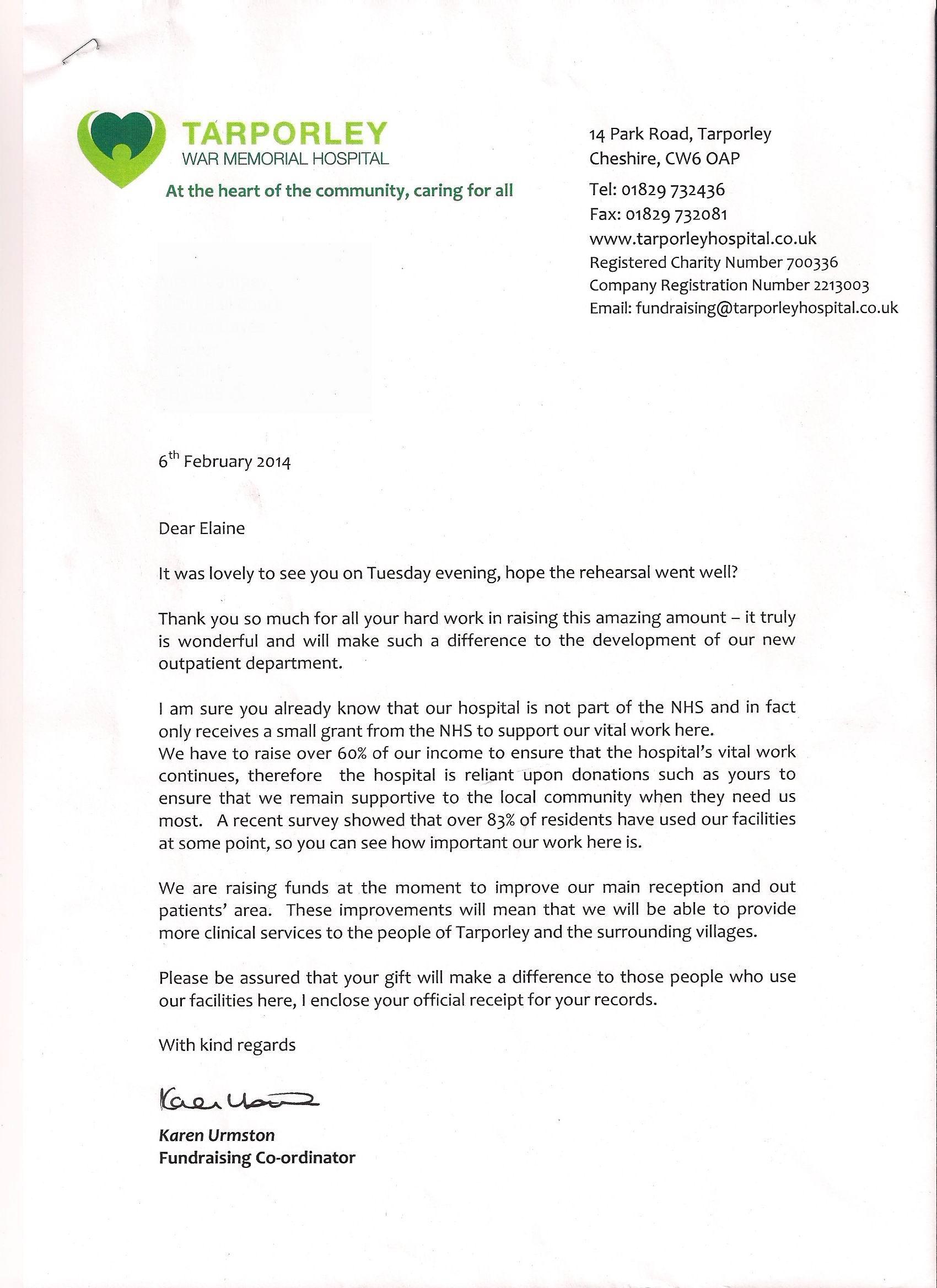 Tarporley letter